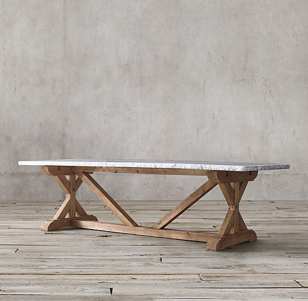 Salvaged Wood Marble X Base Rectangular Dining Table Rectangular Dining Table Dining Table Wood And Marble