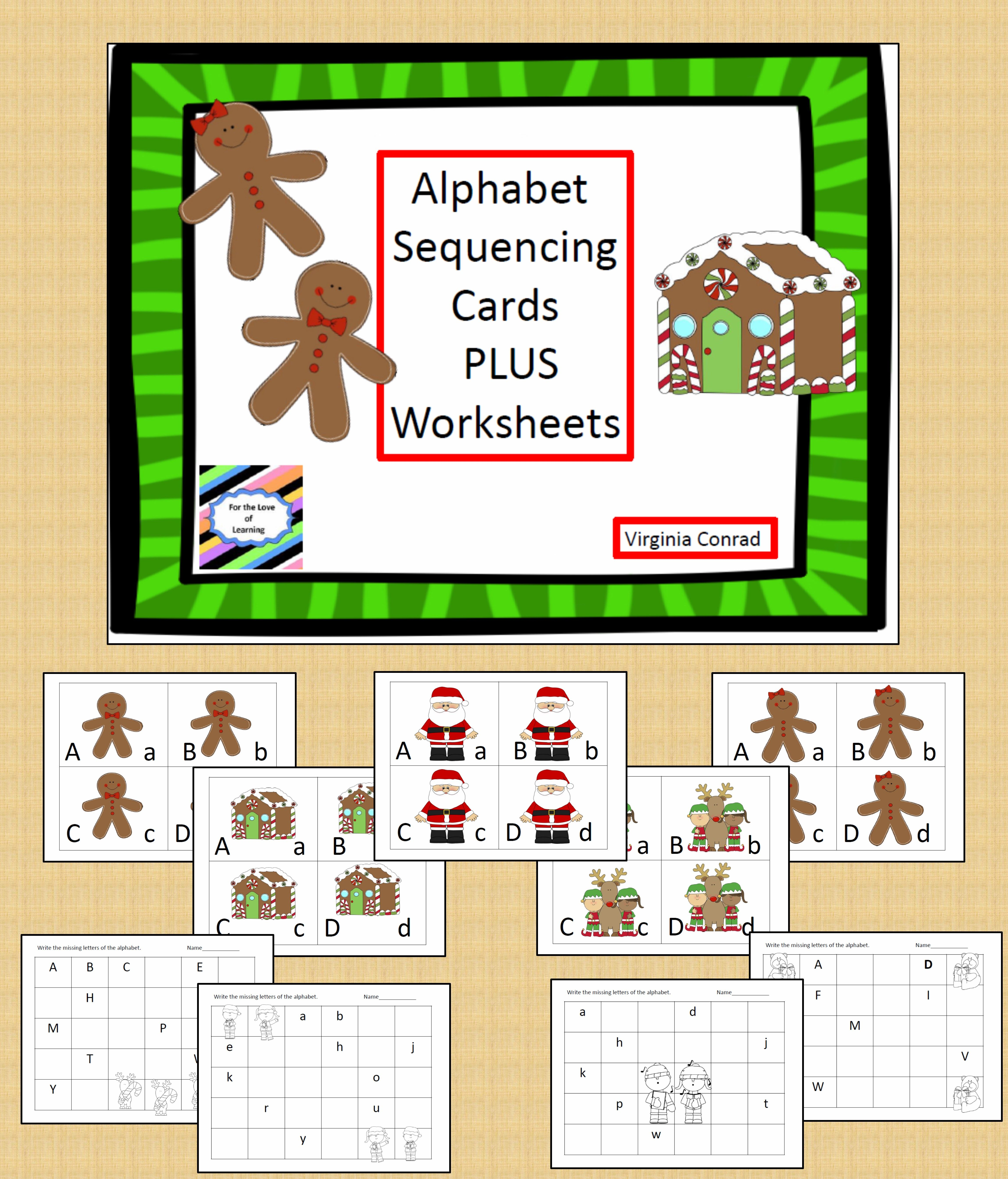 Alphabet Sequencing Center 5 Different Christmas Sets
