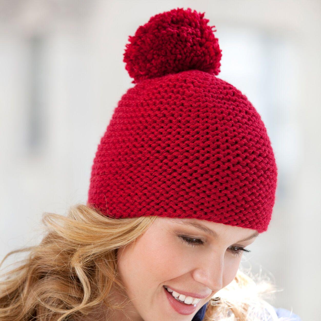 Red Heart Great Garter Knit Hat   Yarnspirations in 2020 ...