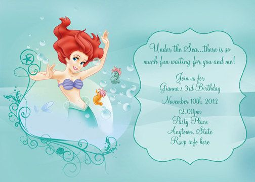 Disney The Little Mermaid Invitation Digital by digitalparties