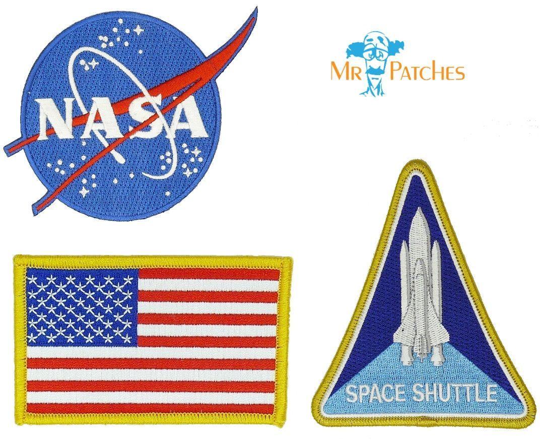 Nasa Blue Logo USA Flag Nasa Space Shuttle Set of 3 Easy