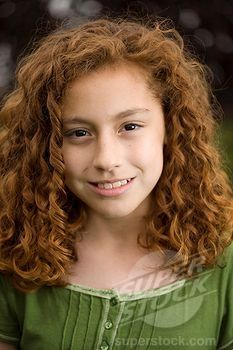 Smiling Young Red Headed Girl Mixed Race Mexican And Caucasian