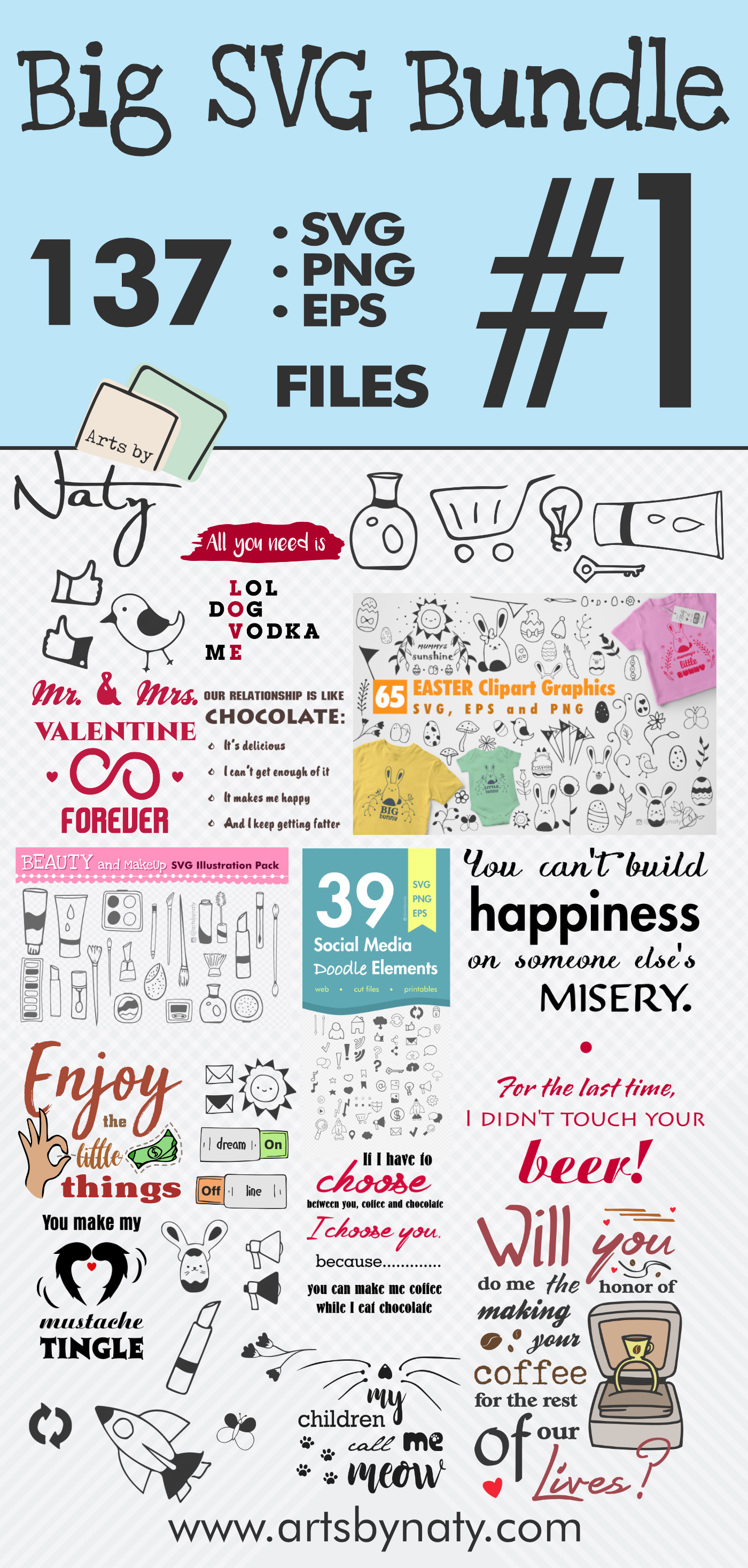 Big Fun SVG bundle of Quotes and Illustrations, Colored Big