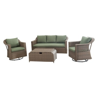 Outdoor Sunjoy 110203042 Wicker 4 Piece Patio Conversation Set - gartenmobel set alu 5 teilig