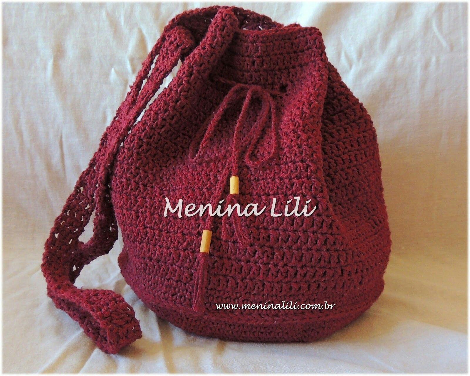Mochila Bolsa Croche Saco Vinho Fio Com Imagens