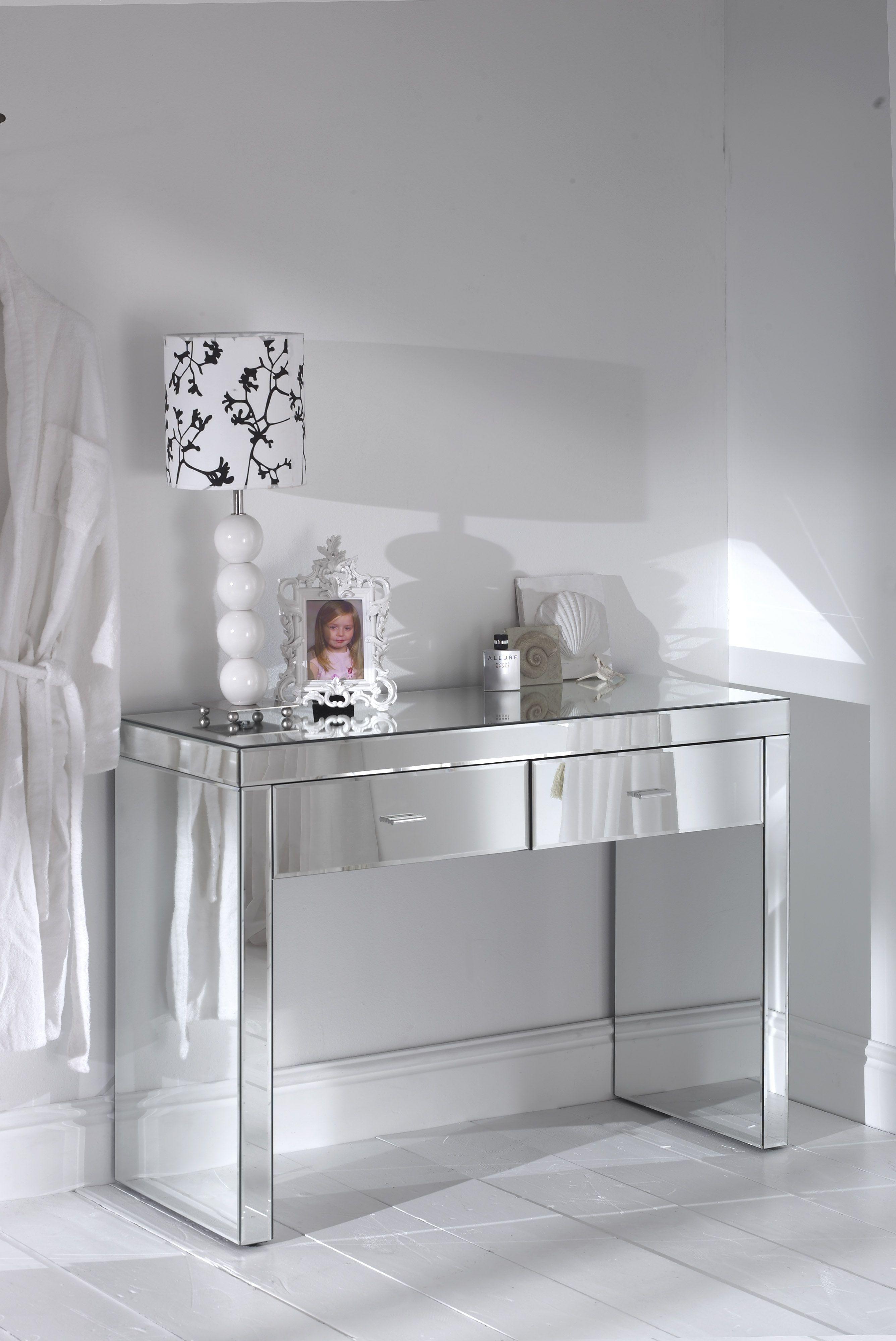 Amazing Glass Mirrored Romano Console Table