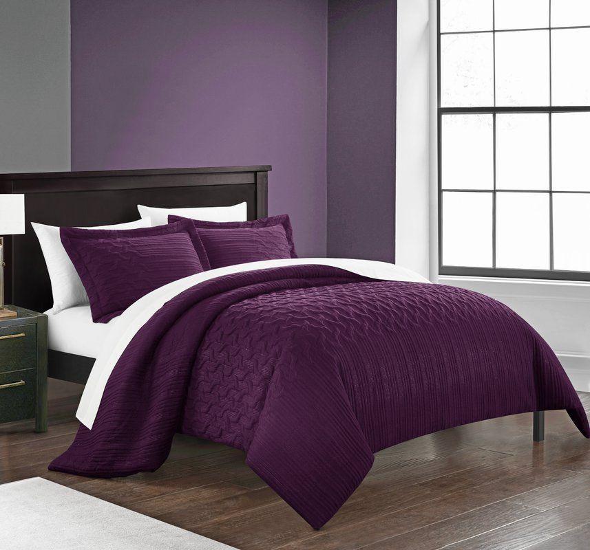 Borst Comforter Set In 2020 Comforter Sets Plum Bedroom Purple