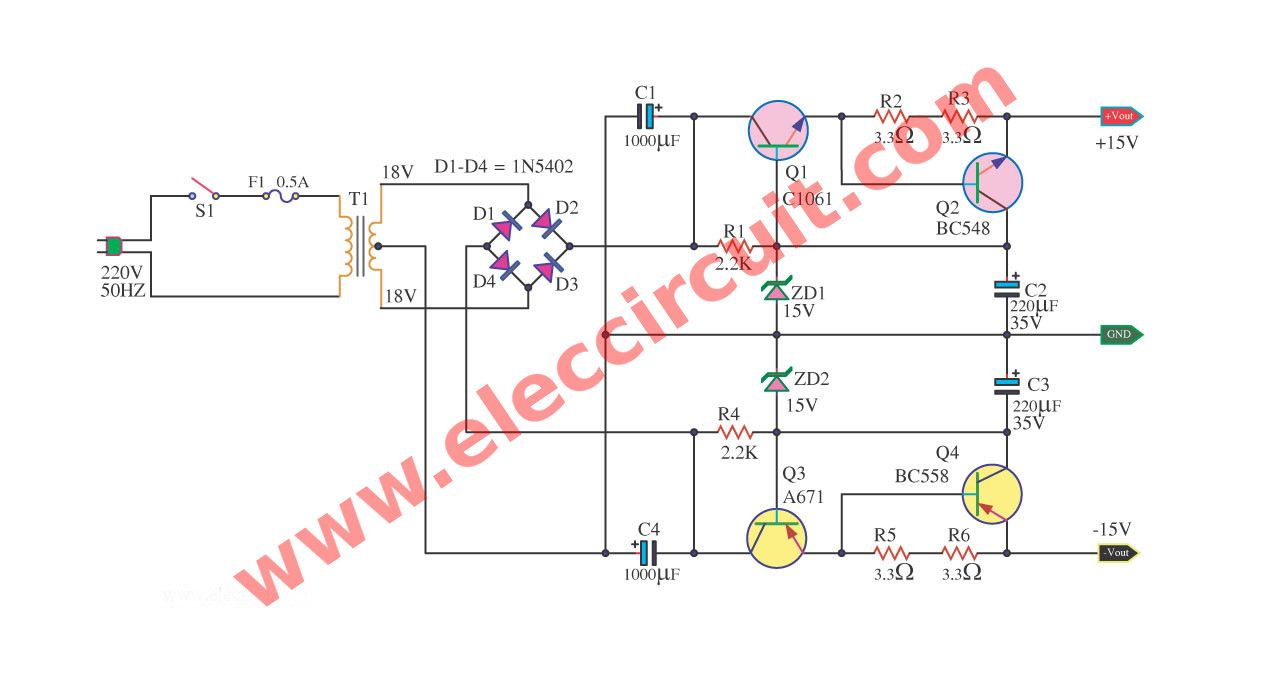 Dual 15v Power Supply Schematic With Pcb 15v 15v 1a Eleccircuit In 2020 Power Supply Power Electronic Schematics