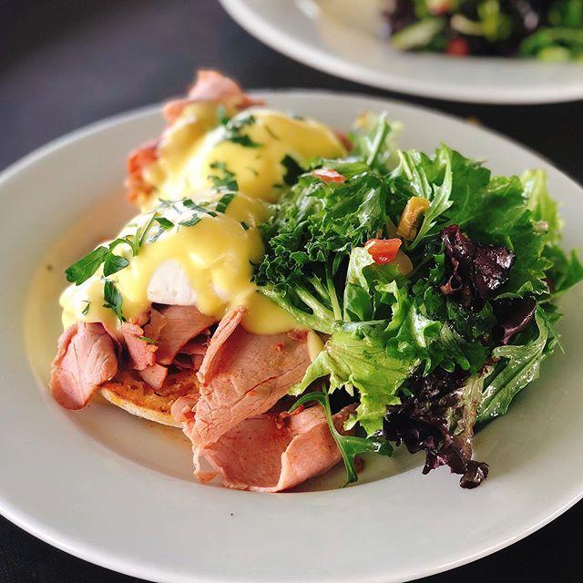 Photo of Egg Benedict : Tasso ham, Poached eggs, English muffin, Hollandaise ($15) 🍳