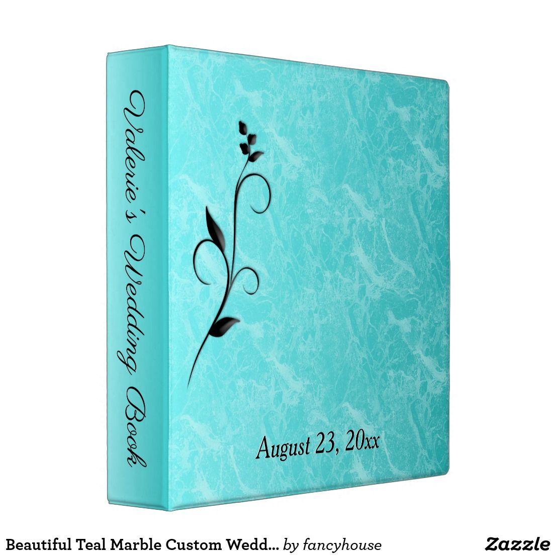 Beautiful Teal Marble Custom Wedding Binder