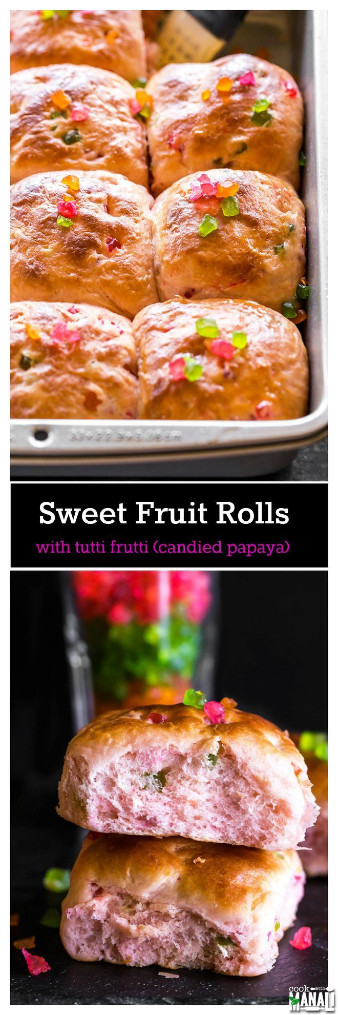 Soft and eggless Sweet Fruit Rolls are filled with candied dried papaya. These are best enjoyed with butter or jam with a cup of chai! Find the recipe on www.cookwithmanali.com