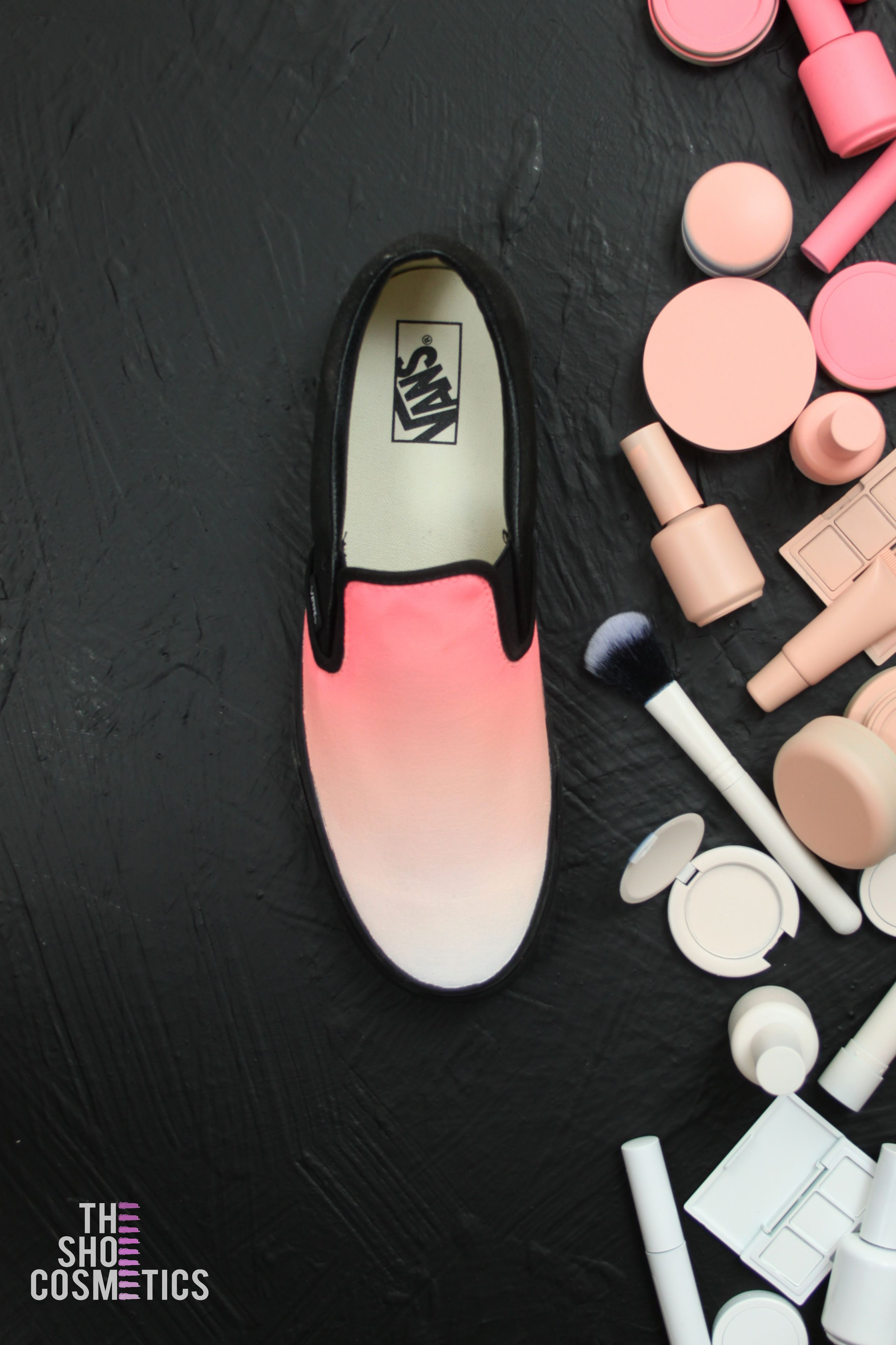 ebc4eee38d9c29 Introducing our pink and peach ombre custom vans slip on shoes. Maybe  looking for a new pair of black vans or pink vans shoes  Explore these Vans  slip on ...