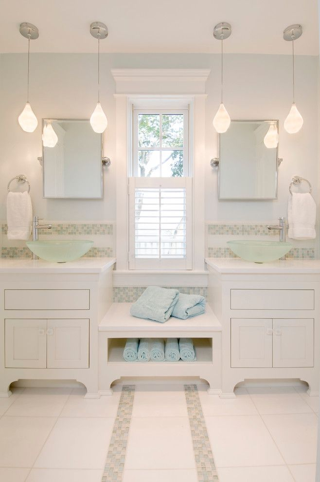 Inspiration For A Large Transitional Master Bathroom Remodel In Boston With  A Vessel Sink Furniture Like Cabinets White Cabinets Multicolored Tile U2026