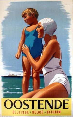 Ostend Belgium Oostende, 1952 - original vintage poster by Herman Verbaere listed on AntikBar.co.uk