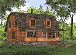 Cabin Design With A Gambrel Roof House With Porch Backyard Cabin Log Cabin Homes