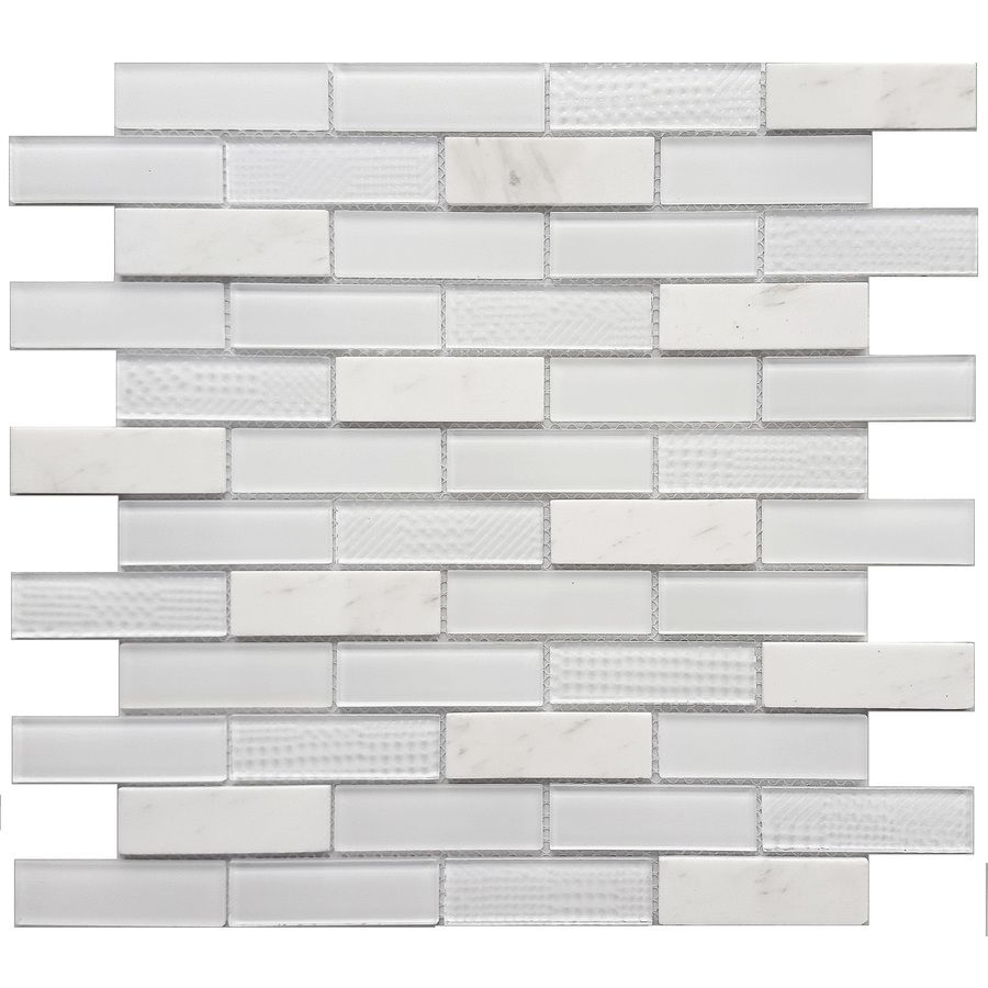 Avenzo Multi Texture Brick Mosaic Stone And Glass Marble Wall Tile Common 12