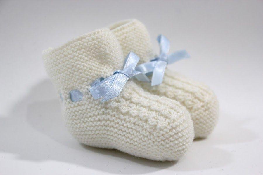 DIY Tutorial y patrones patucos de bebé tejidos con dos agujas ...