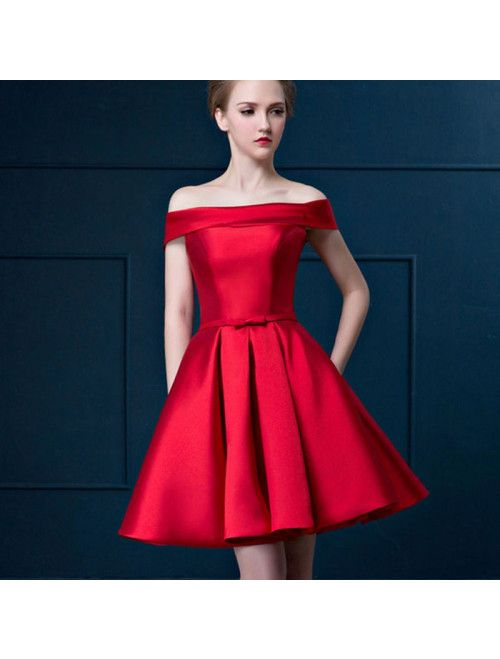 203a4904e00 Cute Red Off Shoulder Satin Short Ball Dress