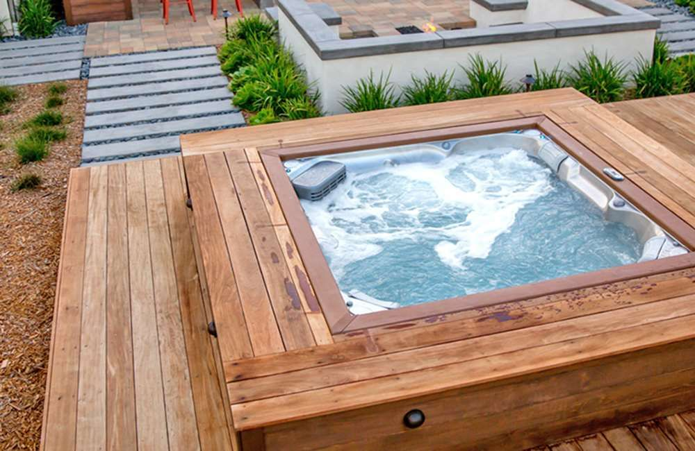 Hot Tub In A Deck Jacuzzi Hot Tub Hot Tub Outdoor Hot Tub Backyard