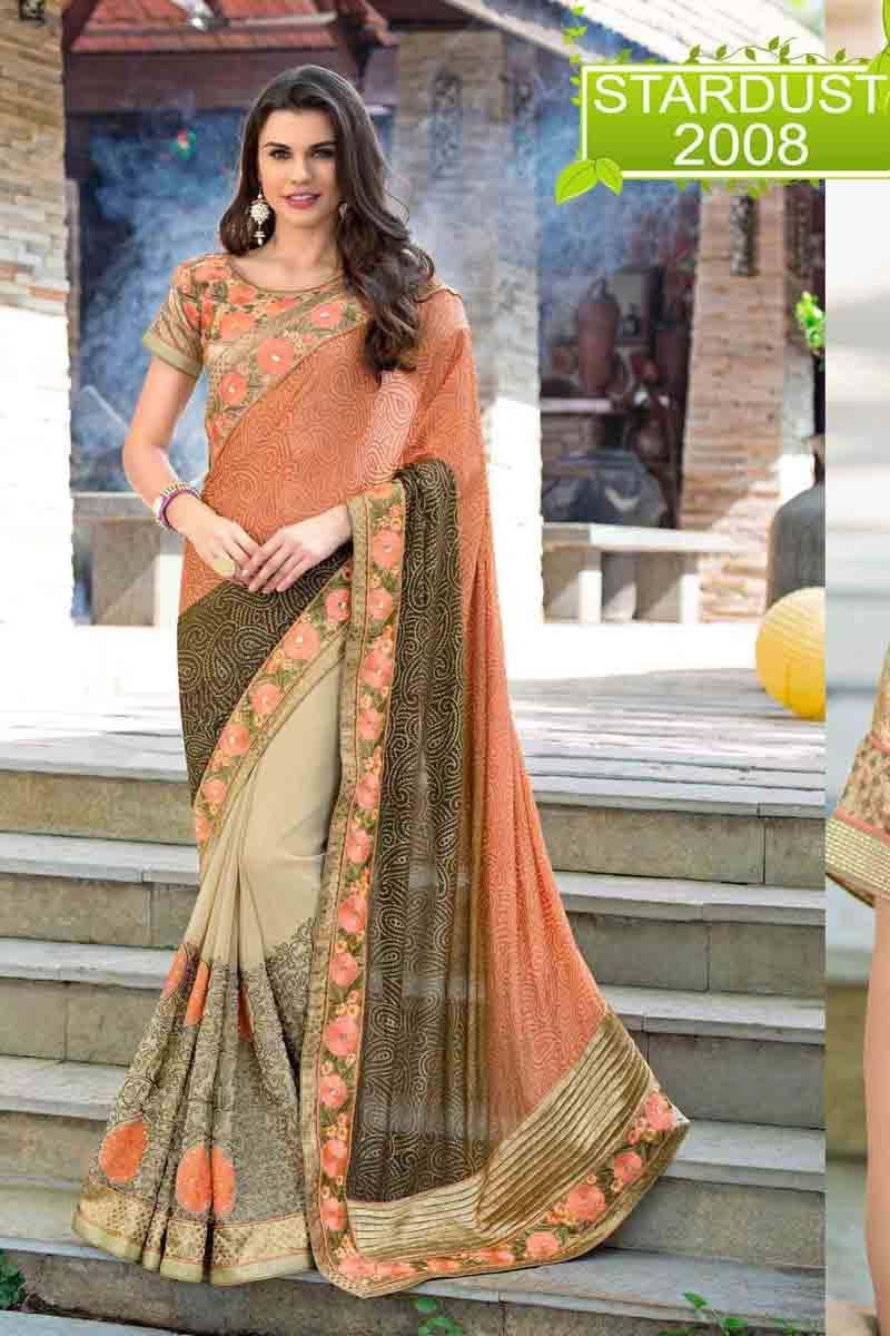 e0b17ef9a Description  Buy peach chiffon designer saree with best price at Variation.  Huge collection of designer sarees online shopping