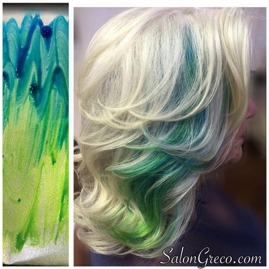 Layered Blonde With Blue Green Ombre Peekaboo Highlights 1024x1024 Jpg 1024 1024 Peekaboo Hair Turquoise Hair Green Hair