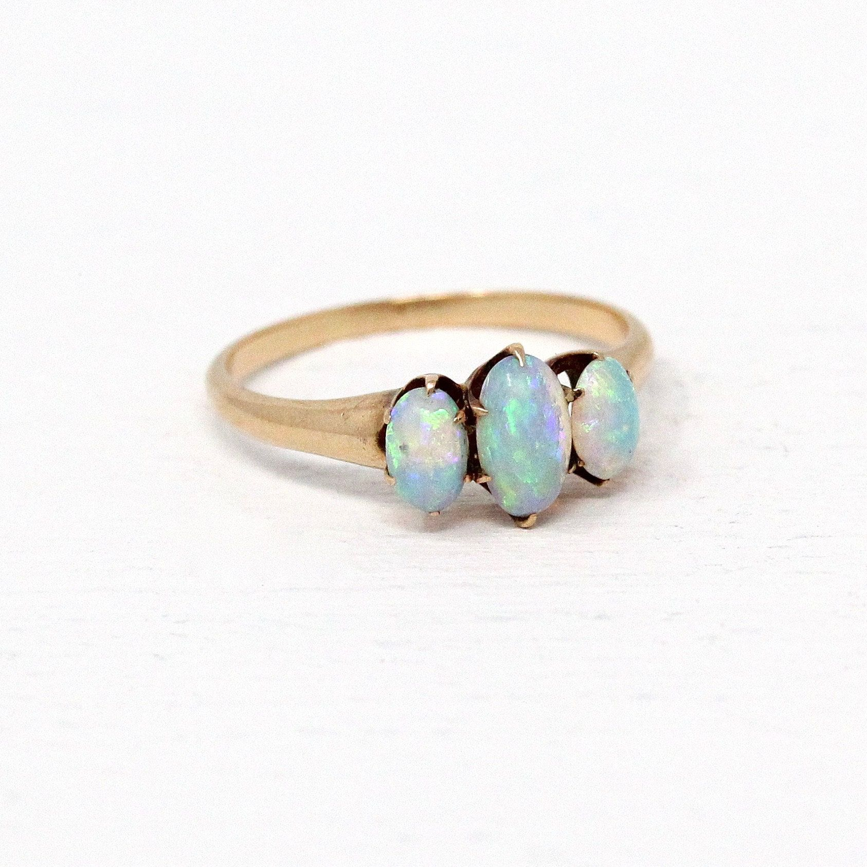 Vintage Opal Ring 10k Yellow Gold Three Stone Cabochon Gemstone Band Antique Edwardian Size 6 October B Opal Ring Vintage Antique Opal Ring Antique Jewelry