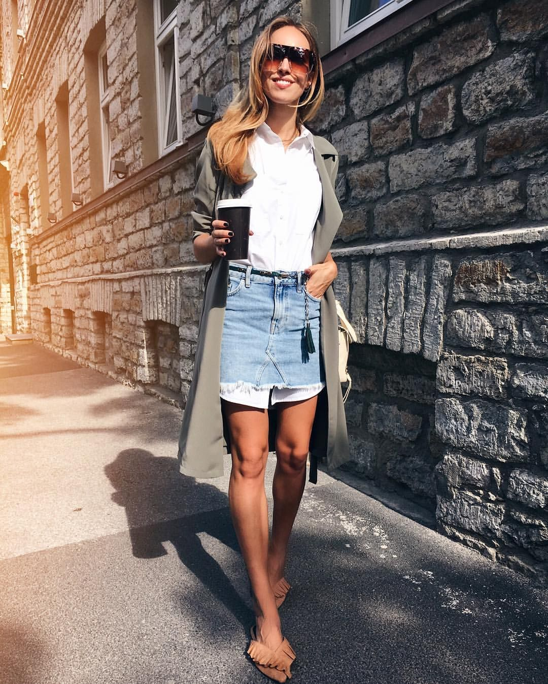 Denim Mini Skirt Over White Shirt Dress Kristjaana Kristjaana