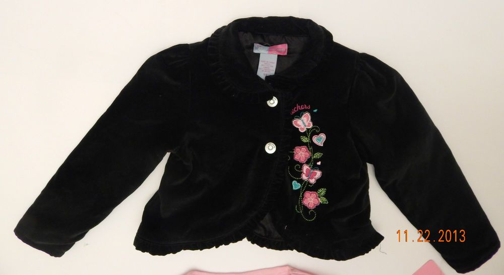 NWT Girls Sketchers Pink Shirt Black Ruffle Velour Velvet Jacket Size 3T Toddler #Sketchers #DressyEverydayHoliday