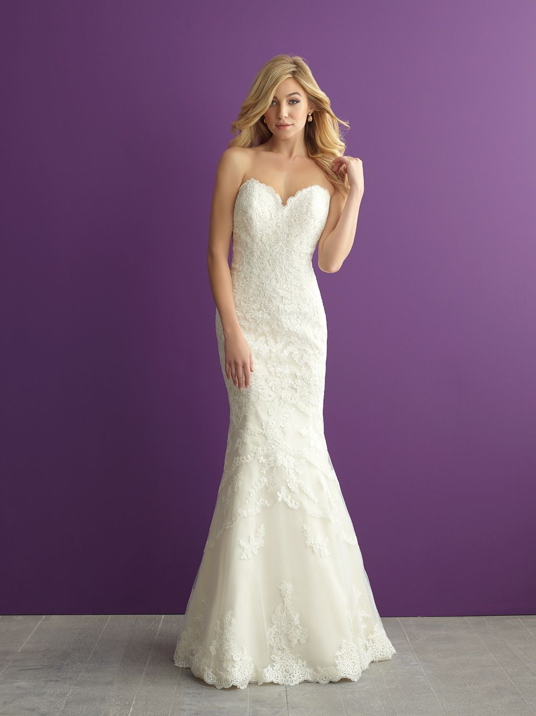 The Highlight Of This Strapless Lace Gown Is An Incredible Train