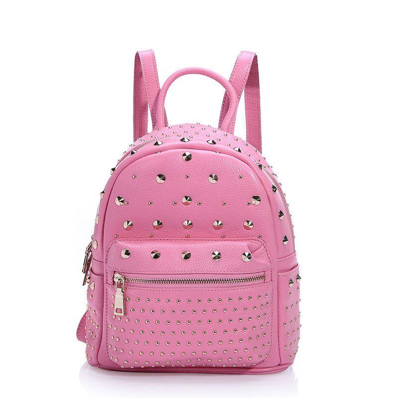 e964086b66038 2016 mochila pequeñas nuevo estilo buena calidad cuero de moda mochilas con  remaches para mujeres  AL93116  - €66.38   bzbolsos.com