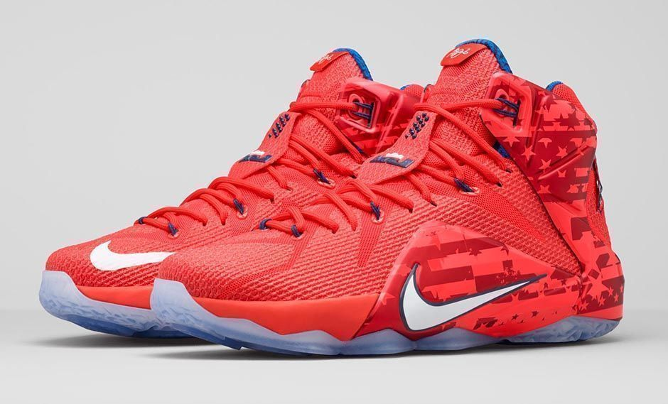 755095b84829 NIKE LEBRON Xll 12 INDEPENDENCE DAY 4th OF JULY SHOES 684593-616 MENS NEW  R W B