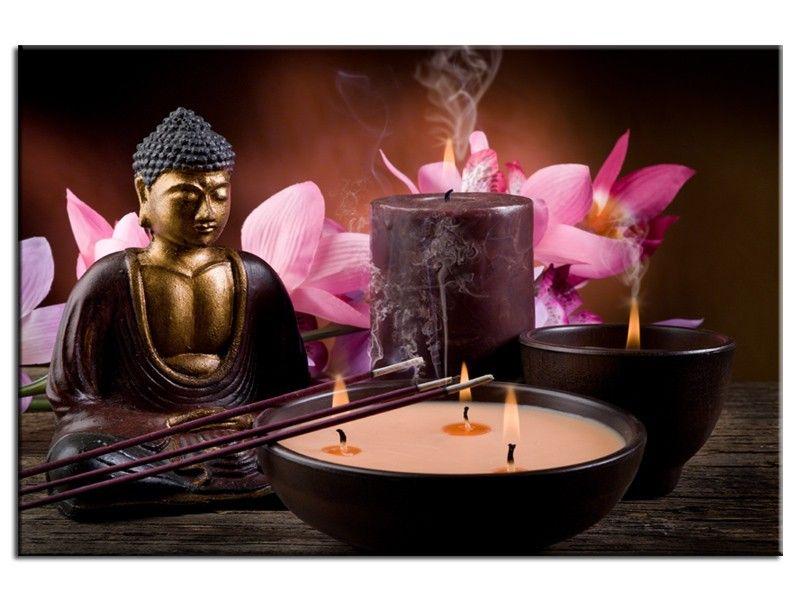 tableau design bougie et encens d coration zen toile imprim e et jours ouvres. Black Bedroom Furniture Sets. Home Design Ideas