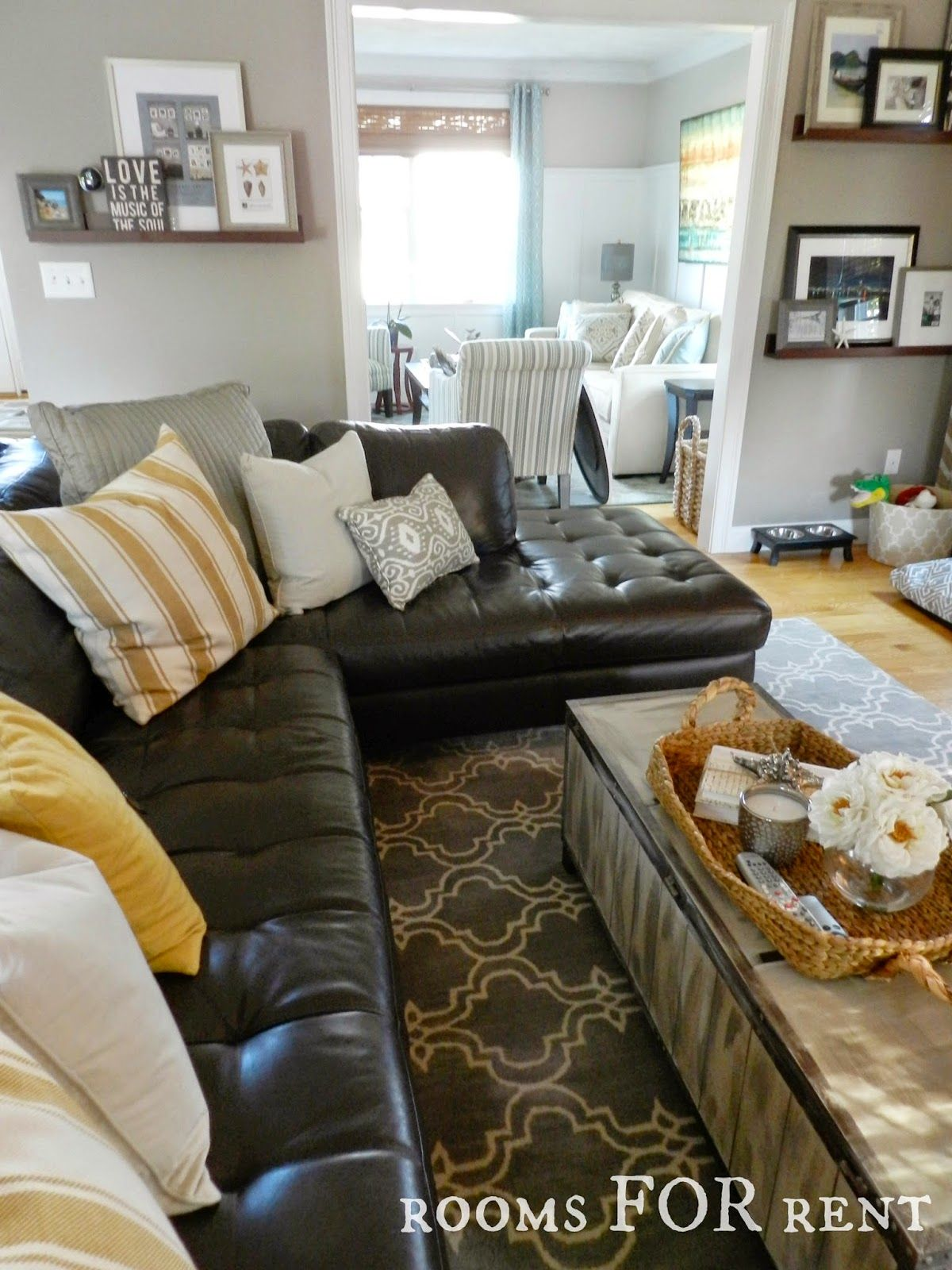 Comfy leather sofa - How To Style A Dark Leather Sofa Den Makeover
