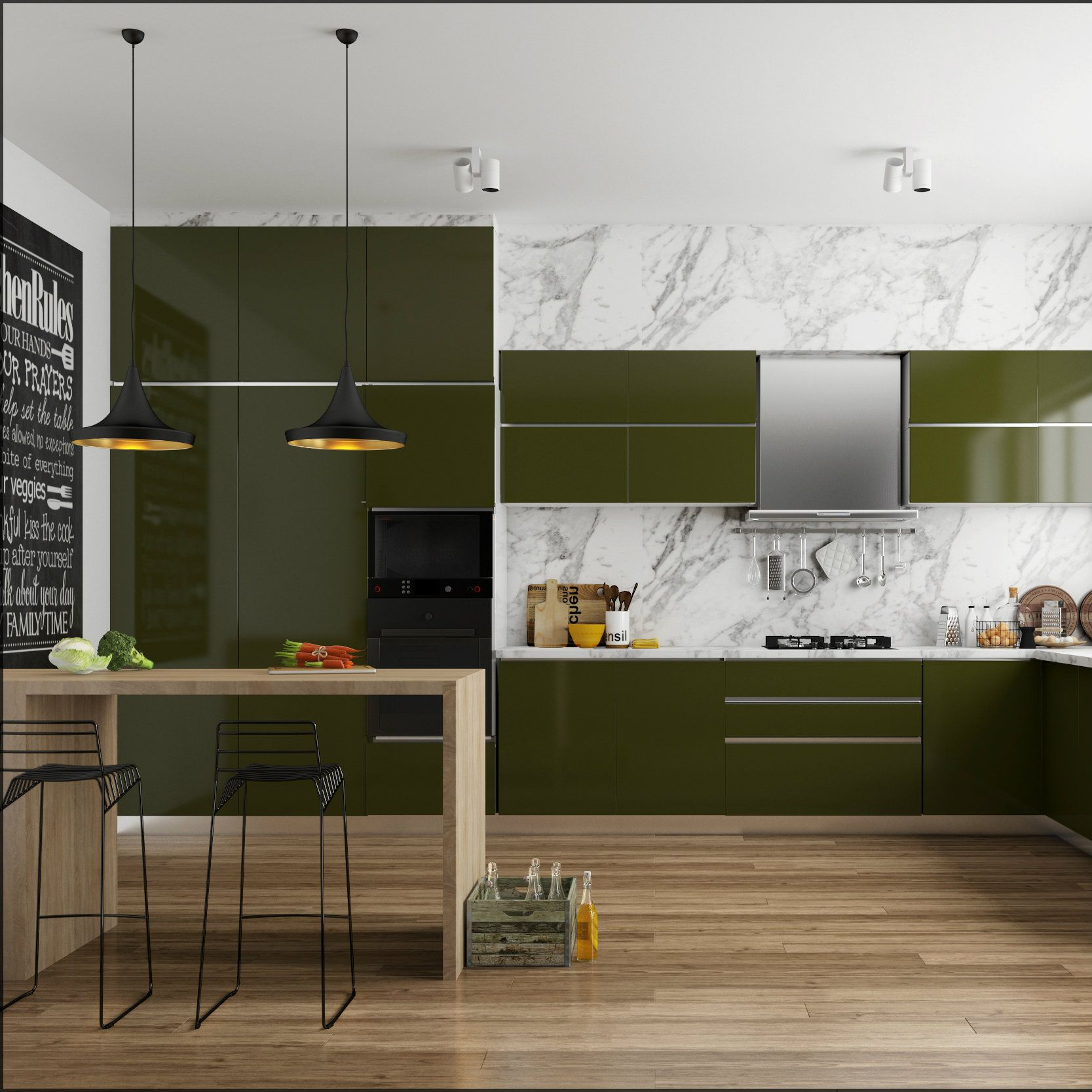 Delicious olive green modular kitchen with sleek seating