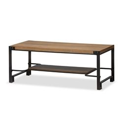 Baxton Studio Gibson Rustic Industrial Style Antique Black Textured Finished Metal Distressed Wood Occasional Coffee Table Affordable modern furniture in Chicago, classic living room furniture, modern Living room tables, cheap coffee tables