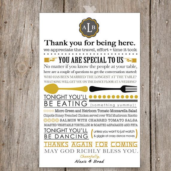 Printable Wedding Menu and or Thank You    Unique Wedding Table - wedding menu