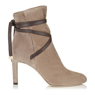 JIMMY CHOO Dalal 85 Dark Brown Cashmere Suede Ankle Booties With Leather  Strap Detail