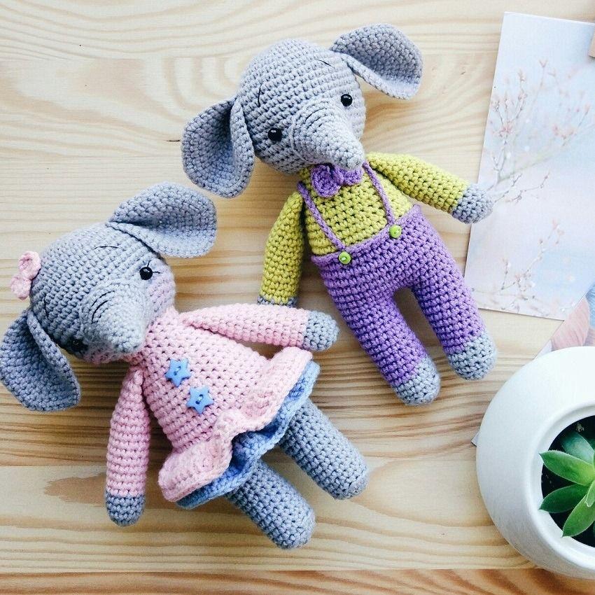 Baby elephants Tom and Mia | Baby elefant, Amigurumi-muster und ...