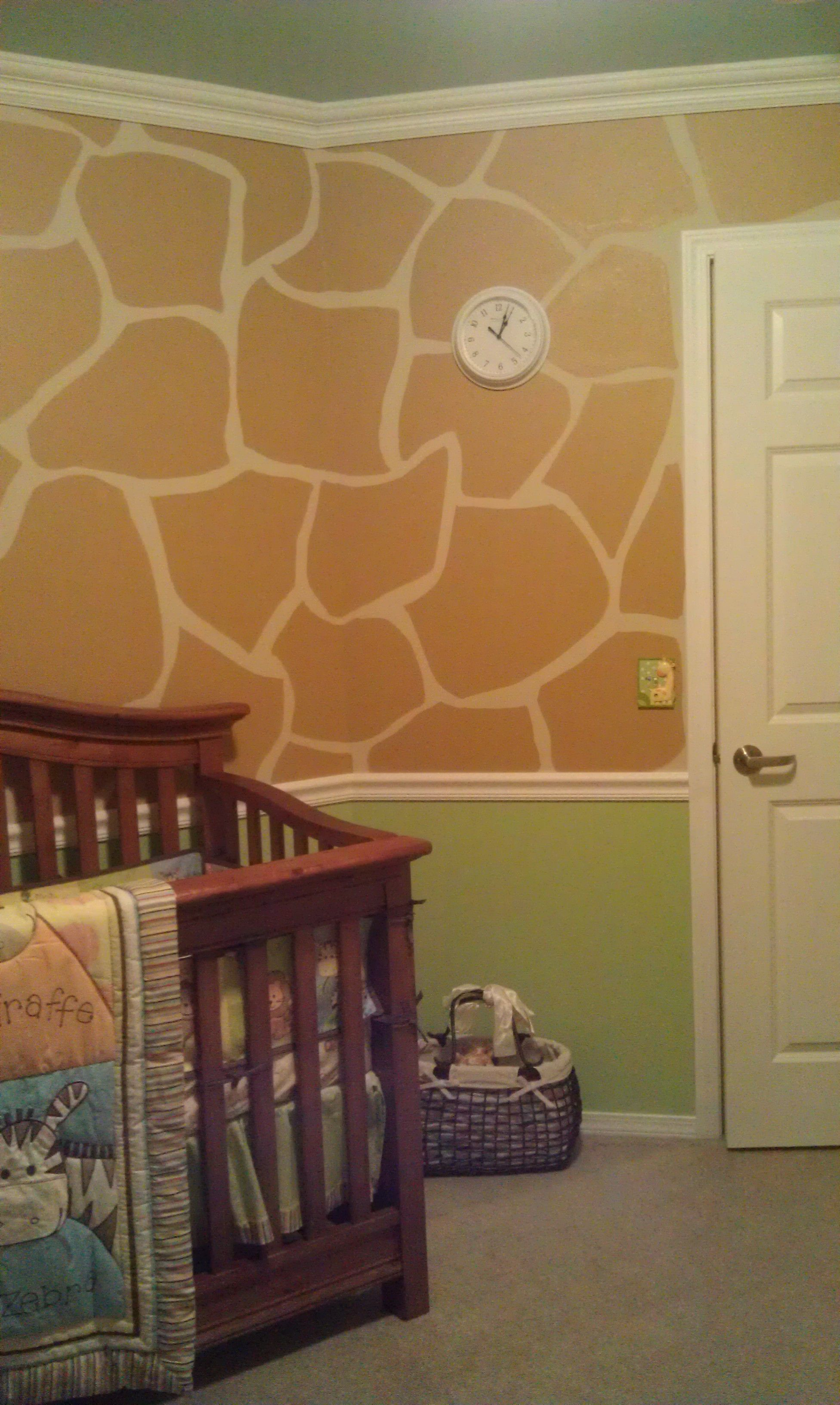 Giraffe nursery free hand design baby blue green color used to i wanted to go a giraffe print accent wall in alexs baby room maybe i will actually do it the second time around amipublicfo Gallery