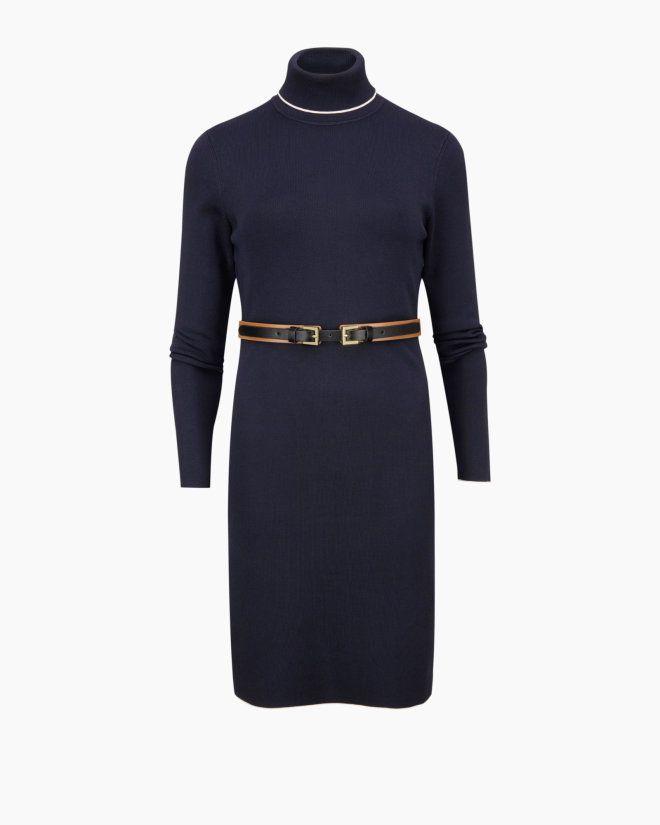 fca1d37fb Belt detail knitted dress - Navy