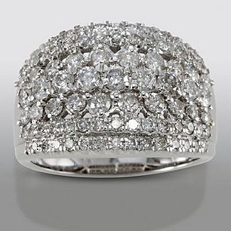 David Tutera 2 Cttw Certified Diamond Anniversary Band In 10k White Gold Wide Diamond Bands Diamond Anniversary Bands Classic Ring