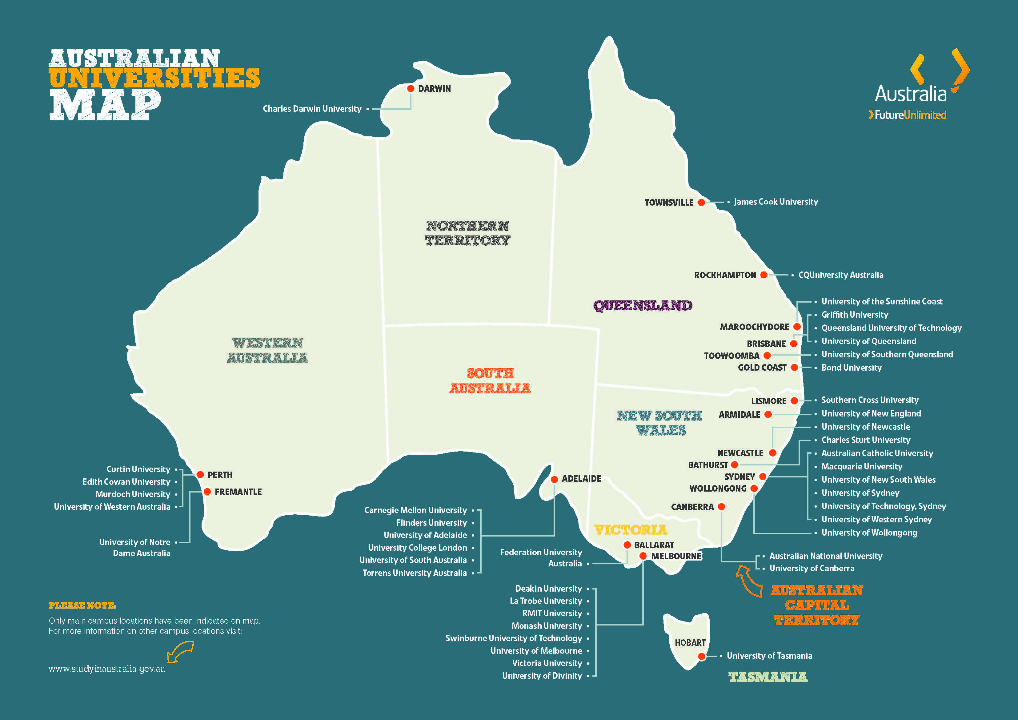Map graphic showing the location the main campuses of Australian