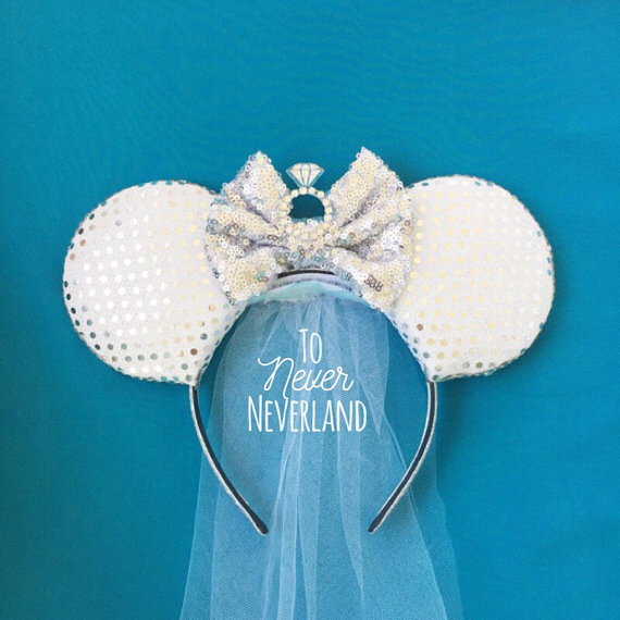 Wedding Mickey Ears Bride Ears Bride Mickey by ToNeverNeverland 1e5a6536946