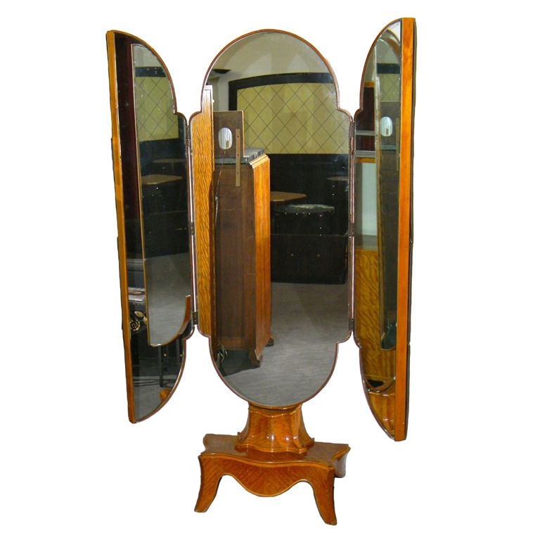 Unusual trifold stand up antique mirror Bedroom Art Deco
