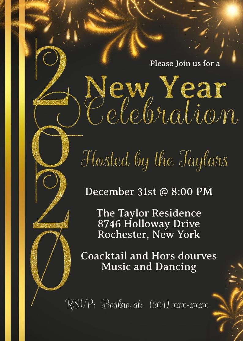 NewYearsEve Party Invitations, New Years Party