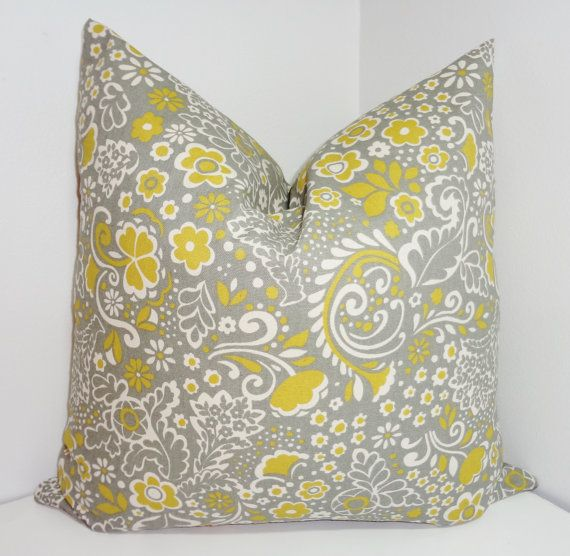 Citrine Grey Ivory Floral  Pillow Cover Throw Pillow by HomeLiving, $18.00