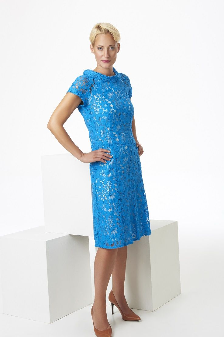 Mediterranean blue lace dress with cap sleeves classic lines