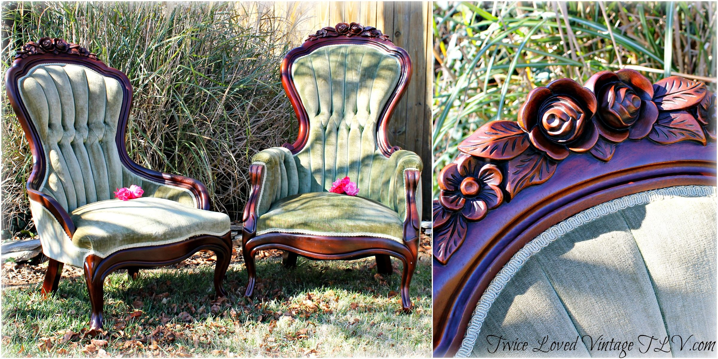 Antique Lady and Gentleman's Walnut Victorian Parlor