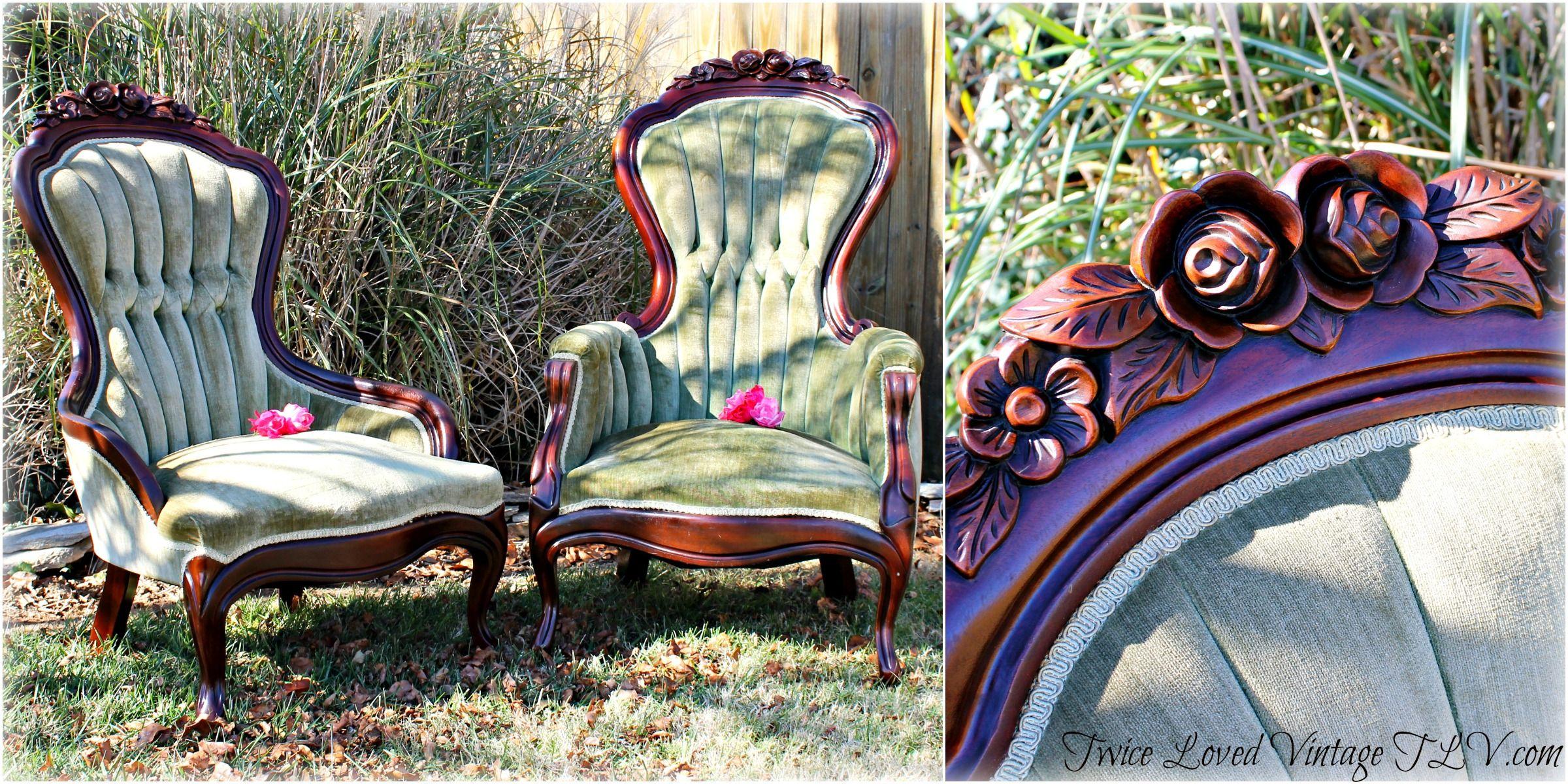 Antique victorian parlor chairs - Antique Lady And Gentleman S Walnut Victorian Parlor Chairs Green Velvet Rose Craved Crest