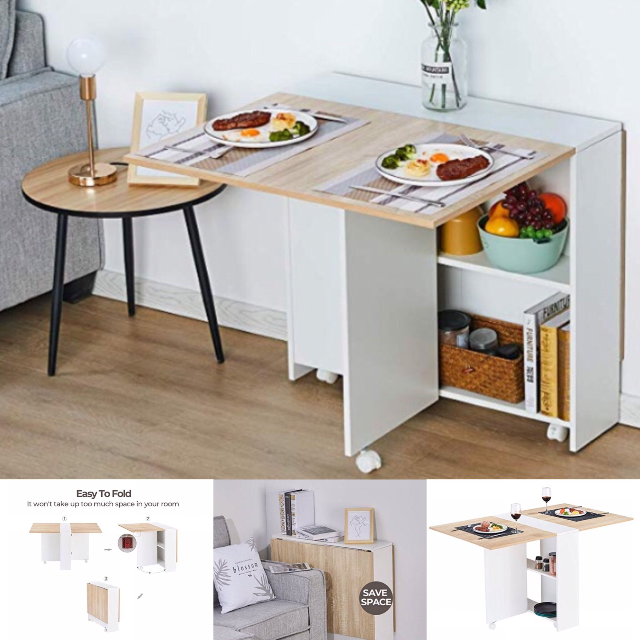 Modular Folding Dining Table Dining Table Small Space Small Dining Table Apartment Compact Dining Table Dining table for small kitchen